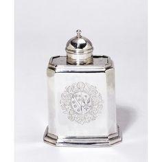 Tea canister      Date: 1717-1718 (made)     Place: London     Artist/maker: Farnell, John //  - Maria Elena Garcia -  ► www.pinterest.com/megardel/ ◀︎