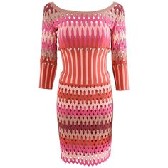 ALAIA red and pink cut out diamonds bodycon stretch dress | From a collection of rare vintage day dresses at https://www.1stdibs.com/fashion/clothing/day-dresses/