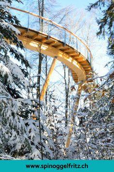 Der erste Baumwipfelweg der Schweiz! Ein Familienausflug im Toggenburg in der Schweiz. Mit einem Waldspielplatz und tollen Erlebnis-/Wissensstationen. Traveling With Baby, Free Time, Wanderlust, Oh The Places You'll Go, Outdoor Travel, Winter, Time Activities, Holiday, Nature