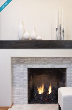 Modern fireplace mantels designs rectangular marble tile bringing together gray and white rustic simple mantel farmhouse Fireplace Surround Kit, Home Fireplace, Fireplace Remodel, Living Room With Fireplace, Fireplace Surrounds, Fireplace Design, Fireplace Ideas, Fireplace Makeovers, Simple Fireplace