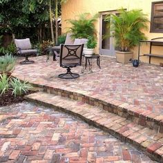 Herringbone Brick Patio - Patio Design - Today's 7 Most Popular Materials - Bob Vila In the course of designing your dream patio, be sure to factor the material's aesthetics, durability, and maintenance requirements into your decision-making. Backyard Patio Designs, Pergola Patio, Diy Patio, Patio Ideas, Patio Seating, Patio Roof, Pergola Kits, Pergola Ideas, Garden Ideas