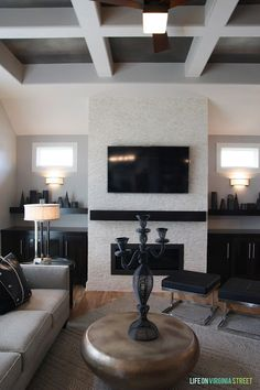 2013 Omaha Street of Dreams: Home #2 - Life On Virginia Street Fireplace Bookcase, Basement Fireplace, Fireplace Redo, Fireplace Mantels, Fireplaces, Built In Wall Units, Modern Outdoor Living, Living Room Floor Plans, Life On Virginia Street