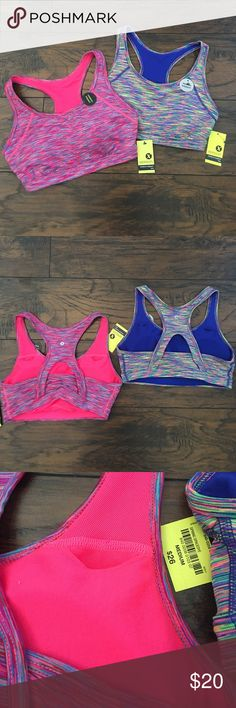 2 for $20 Sport Bras Quick Dry, No-chafe seams, removable bra cups, comfort elastic band. Both medium support/impact. Both size Medium. 92% Polyester 8% Spandex. Xersion Intimates & Sleepwear Bras