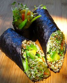 RAW california rolls. This is a great grain free idea. I'd have to use a lot of hot sauce to cover up the seaweed flavor.