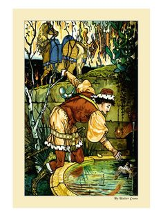 """""""'Princess Belle-Etoile, a literary fairy tale by Madame d'Aulnoy is a story four children hunted by an evil Queen, who won't be satisfied until they are ruined. 🎨 Walter Crane, born in Painting Frames, Painting Prints, Walter Crane, English Artists, Vintage Artwork, Japanese Prints, Arts And Crafts Movement, Artwork Prints, Great Artists"""