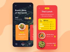 Often, the supplementation of the diet is monotonous and boring, plus a stereotypical opinion that food is not tasty exists. This app can help you eat properly and delicious with an improved menu f. Ui Design Mobile, App Ui Design, Interface Design, User Interface, Android Design, Flat Design, Diet Apps, App Design Inspiration, Creative Inspiration