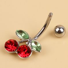 Crystal Red Cherry Piercing Belly Button Navel Ring