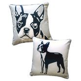 terriers, anim, terrier pillow, style revers, boston terrier, puppi, pillows, revers boston, doggi style