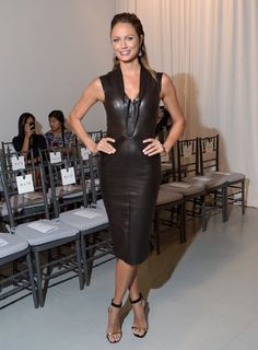 Stacy Keibler was slick as ever in a black leather formfitting dress at Zac Posen.