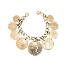 Pre-Owned 1950s Multi-Country Coin Bracelet (128.465 CRC) ❤ liked on Polyvore featuring jewelry, bracelets, silver, cuff jewelry, cuff bangle, coin jewellery, pre owned jewelry and coin jewelry