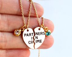 PARTNERS IN CRIME necklace birthstone friendship by birdshome
