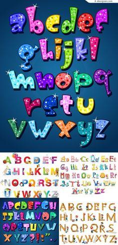Cute colorful cartoon alphabet vector material