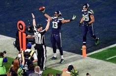 Seattle Seahawks wide receiver Chris Matthews (13) celebrates after scoring a touchdown during the second quarter against the New England Patriots in Super Bowl XLIX. (Richard Mackson/USA Today Sports)