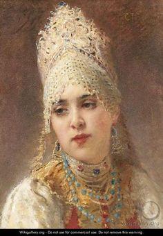 makovsky konstantin egorovich paintings | Boyarina - Konstantin Egorovich Egorovich Makovsky - WikiGallery.org ...