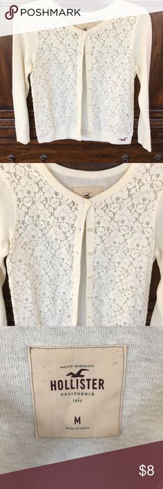 Hollister Co Cream Cardigan with Lace Size Medium Hollister Co Cream Cardigan with lace details on front. Perfect sweater to wear with a dress or cute top this spring! Size Medium- Hollister does tend to run small. VGUC, asking $8. Smoke Free Home Hollister Sweaters
