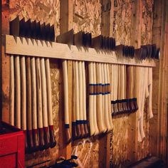 The new axe rack in our shop.