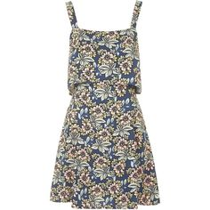 TOPSHOP Daisy Floral Print Overlay Dress (99 BRL) ❤ liked on Polyvore featuring dresses, topshop, blue, blue floral print dress, blue cutout dress, flower print dress, leather dress and blue leather dress
