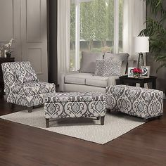 Homepop Blue Slate Large Accent Chair Gray And Light Blue