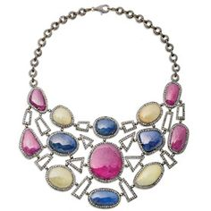 Geo Necklace<br />Ruby, coloured sapphire & diamond set in silver & gold