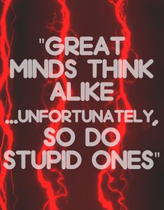 Great minds think alike… unfortunately, so do stupid things. thedailyquotes.com