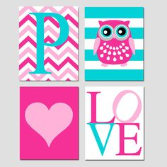 Baby Girl Nursery Art Quad - Striped Owl, LOVE, Chevron Monogram Initial, Simple Heart - Set of Four 8x10 Prints - Choose Your Colors