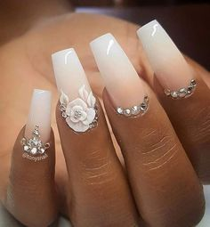 We offer you very modern ideas of 2018 Wedding Nail Designs that will become you. - makeup and nails for me - We offer you very modern ideas of 2018 Wedding Nail Designs that will become you. - makeup and nails for me - Bride Nails, Prom Nails, 3d Nails, Cute Nails, Pretty Nails, Nail Nail, Coffin Nails, Nail Art 3d, Long Nails