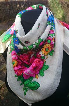 Holiday Gift Shawl Soviet Vintage Green White Silk Scarf with Flowers Folk Tradition Large Russian Babushka Shawl Neckerchief