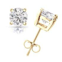 1.50 cttw Round Diamond 4-Prong Stud Earrings in 14K Yellow Gold (J-K Color, I2-I3 Clarity)
