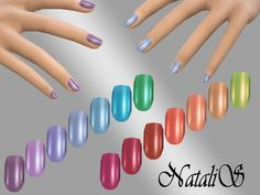 Rainbow recolor short nails. This is a recolor only.  Found in TSR Category 'Sims 4 Female Rings'