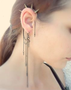 Bronze Patina Cuff Earring with Spikes Unique by MayaHandmade