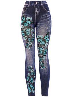 KMystic Women's Denim Print Fake Jeans Leggings (Blue Butterfly)