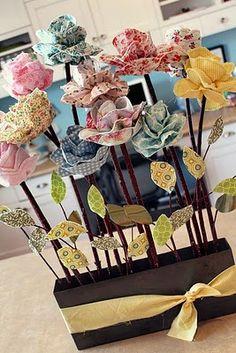 Tutorials (fabric flower bouquet, mini makeup fabric case, homemade play dough, diaper pouch)