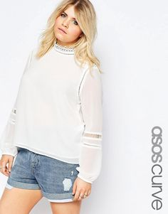 ASOS+CURVE+High+Neck+Blouse+with+Lace+Inserts