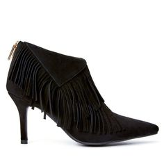 Fringe Stiletto Heel Pointed Toe Boots (£52) ❤ liked on Polyvore featuring shoes, boots, pointed toe stilettos, fringe boots, pointy toe shoes, pointy-toe boots and heels stilettos