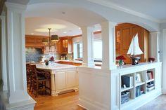 ocean front kitchen - entry to living room. Benjamin Moore Linen White trim paint. Benjamin Moore Oystershell wall paint. Interior design by TeresaMeyerinteriors.com