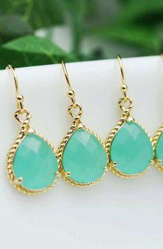 Mint glass bridesmaid earrings from EarringsNation