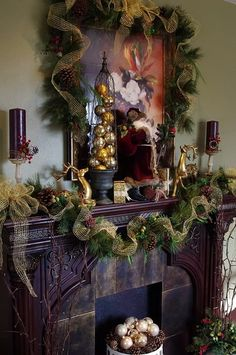 A Whole Bunch Of Christmas Mantels 2013 - Christmas Decorating - Like the ribbon and pinecones used on this mantel.