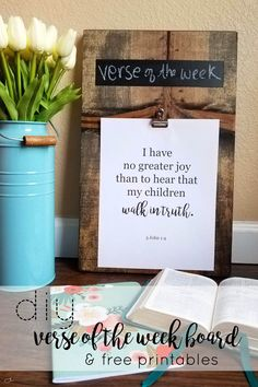 DIY verse of the week board. Make it in less than an hour and use it for bible verses, menu planning, or motivational quotes. Christian Decor, Christian Crafts, Christian Living, Christian Life, Scripture Crafts, Visiting Teaching Handouts, Relief Society Activities, Church Crafts, Prayer Board