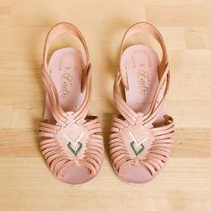 Vintage rose coloured sandals via Etsy