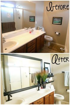 Small bathroom makeover and tips - Before and after view #amomstake