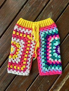 Lunar Pants - Crochet funky Lunaress original toddler pants. Gypsy, hippy, boho fashion. Bright granny square pants!