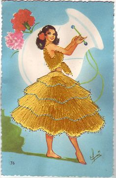 Embroidered Vintage Postcard Spanish Flamenco Dancer | eBay