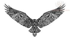 Falcon tattoo design with all the intercay, but maybe the wings down and it's a sternum tattoo