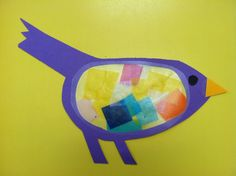 Bird craft with tissue paper and contact paper.