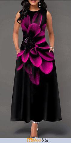 Party Dresses For Women Round Neck Peony Print Sleeveless Maxi Dress Tight Dresses, Trendy Dresses, Women's Fashion Dresses, Casual Dresses, Summer Dresses, Maxi Dresses, Blue Dresses, Club Party Dresses, Elegantes Outfit