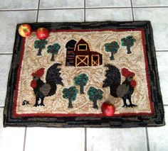 Hand Hooked Primitive Rug  Two Roosters in the by SNLCreations, $395.00