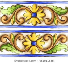 Frieze-On-The-Tiles-Watercolor-Spain-Italy-Majolica-Floral-Ornament Happy New Year Ceramic Painting, Fabric Painting, Italian Pattern, Kerala Mural Painting, Beautiful Flowers Wallpapers, Ganesha Art, Mosaic Crafts, Painted Books, Applique Quilts