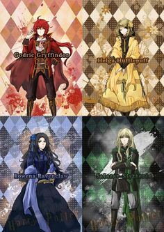 Godric Gryffindor, Helga Hufflepuff, Rowena Ravenclaw, Salazar Slytherin can there be an anime that is based off this? Harry Potter Tumblr, Fanart Harry Potter, Arte Do Harry Potter, Harry Potter Friends, Harry Potter Artwork, Harry Potter Drawings, Harry Potter Outfits, Harry Potter Wallpaper, Harry Potter Universal
