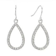 Chaps Silver Tone Simulated Crystal Teardrop Earrings Kohl's