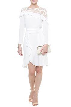 Vestido Crepe Renda Melody Branco | Amissima